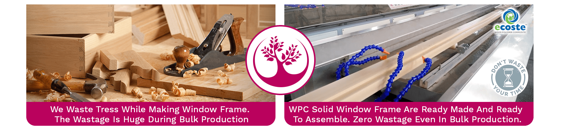 Wooden Window Frame & WPC Solid Window Frame
